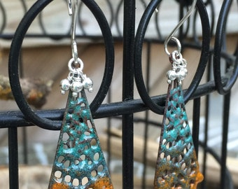 Rustic Blue and Orange Enameled Filigree Boho Earrings with Sterling Silver Beads