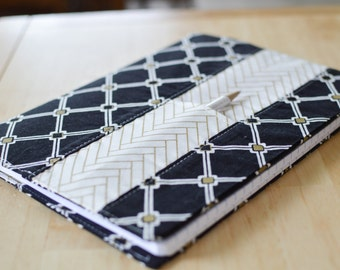 Elegant Notebook Cover, Journal Cover, or Planner Cover. Diamond Pattern Black and Gold Reusable Book Cover