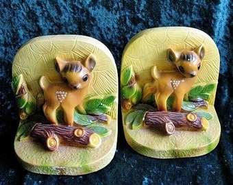 Vintage Plaster Fawn Bookends