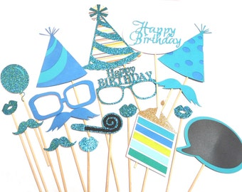 Photo Booth Props - 18PC Happy Birthday Photo Props Blue Set