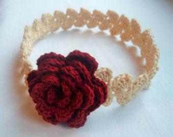 CROCHET PATTERN - crochet headband pattern - Headband with rose - girly headband - flower headband - Newborn to adult sizing - DIY