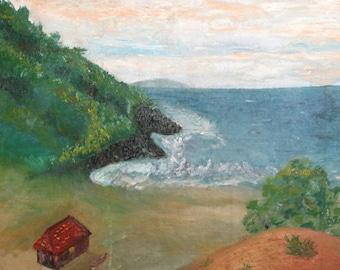 Antique European oil painting seascape sea coast