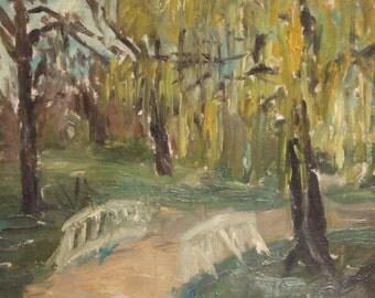 Landscape forest vintage oil painting