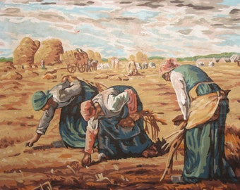 1980's oil painting country scene field workers