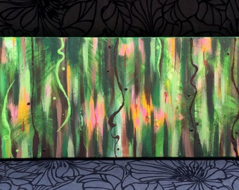 "Original acrylic painting, ""Into the Jungle"", on 12x36 canvas"
