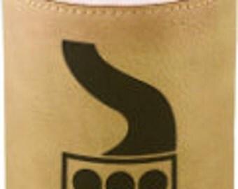 Laser engraved leatherette beverage holder
