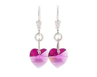 SWAROVSKI Mini Heart Sterling Silver Earrings in Fuschia Pink