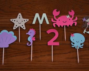 Mermaid Cupcake Toppers/Mermaid/Under the Sea/Cupcake Toppers/Sea/Mermaid and Friends