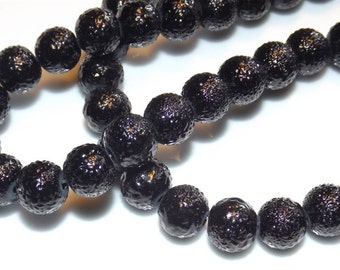10 black hammered effect glass beads, 10mm