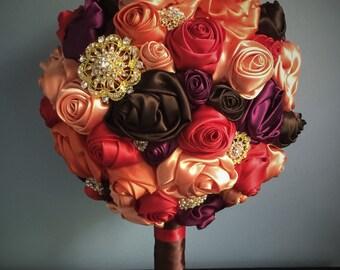 Fall brooch wedding bouquet