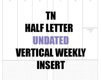 TN Half Letter Undated Insert: MO2P, Vertical WO2P w/graph paper, Habit Tracker, Online Order Tracking, Monthly Goals & Reflections Pages