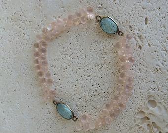 Pink quartz stretchy bracelet