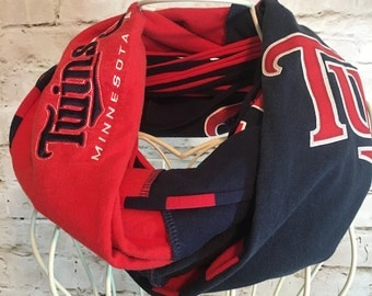 Minnesota Twins scarf; Upcycled t-shirt scarf; infinity scarf; team scarf