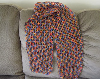rainbow colors crochet scarf .light weight