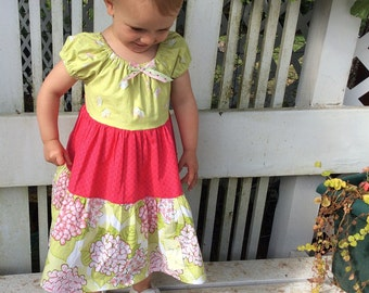 Tiered, floral toddler dress