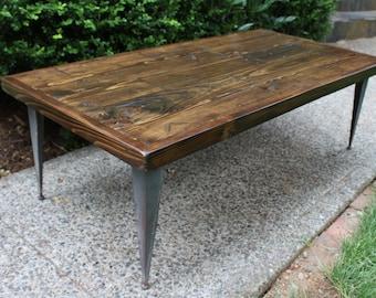 Reclaimed Wood Coffee Table on Angle Iron Legs