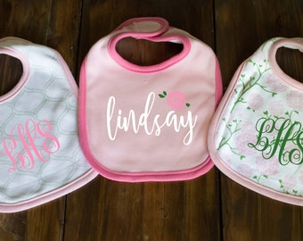 Custom Bib Set of 3 - Baby Shower Gift