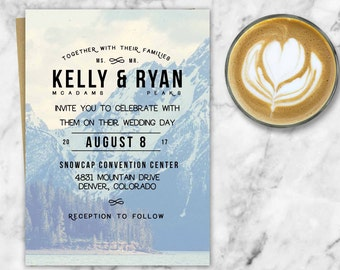 Rocky Mountain Wedding Invitation, Mountain themed Wedding, Printable Wedding Invitations, Invites, Retro Design, Outdoors Wedding, Woodland