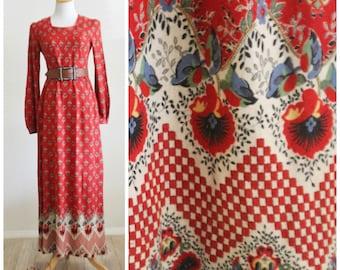 FREE Shipping  Vintage 70's RAG DOLLS San Francisco Rust Red Cotton Ethnic Hippie Boho Caftan Maxi Dress Flower Child