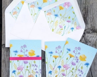 Summer Meadow... Gift set of 6 Notecards and lined envelopes, taken from my original watercolour design - blank inside