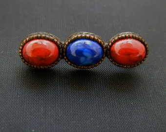 Vintage Round Bar Marbled Stone Brooch Coat Sweater Pin Red Blue 1""
