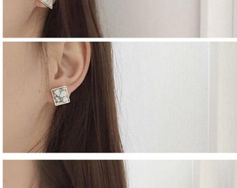 Marble earrings round white gold square triangle