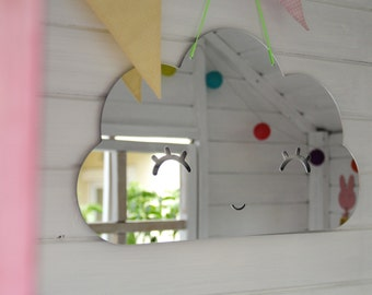 Cloud shape acrylic mirror for kids room, nursery room, safe mirror