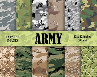 army, military,  scrapbook digital paper pack - printable papers - Instant download - 12x12 inches. 300 dpi.