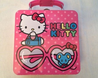 Hello Kitty Lunch Box Metal Saniro Tin Polka Dots Cupcakes Candy Glasses Mouse