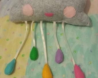Rainbow Raincloud Nursery Mobile