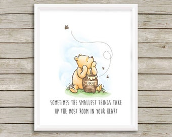 Winnie the Pooh Nursery Art, Classic Winnie the Pooh Quote, Winnie the Pooh Baby Shower Gift, Nursery Art, Boy or Girl Art, Instant Download