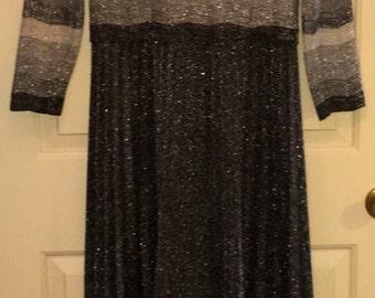 Vtg Bleeker Street blk/grey/silver metallic dress