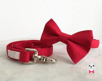 Red Bow Tie Dog Collar Set with Leash/Plain Pattern/Dark Red/Cute Bow Tie Dog Collar/Wedding Gift/Summer/Festive/Birthday