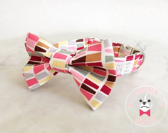 Colorful Stripes Bow Tie Collar for Dogs/Bow Tie Dog Collar/Autumn Leaves/Wedding Gift/Festive/Birthday/Cute Dog Collar