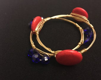 Red/Blue Wire Bangle Set