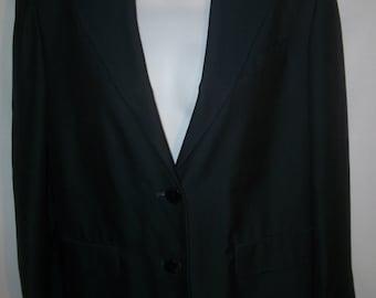 Vintage DKNY Blue 100% Silk Women's Jacket Sz 6