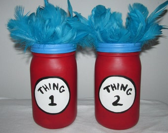 Hand-painted Dr. Seuss inspired Thing 1 and Thing 2 Mason Jar Piggy Banks, set of 2
