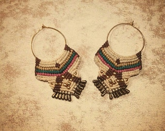 Boho Indian handmade macrame earrings with brass beads and gold hook rings~