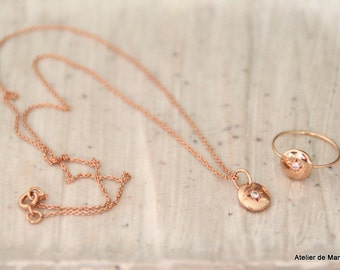 Collection Mandarling: Pendant rose gold 750millième(18K) and diamond. Model filed