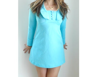 vintage 60s // mod mini dress // baby blue // size extra small (XS)