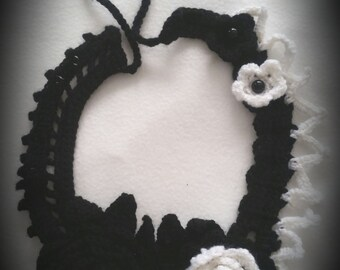 handmade crocheted flower statement necklace