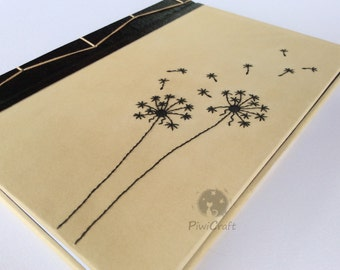 Notebook-Notebook-diary with embroidered cover overhead shower-Dandelion and Japanese binding