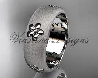 Platinum floral matte finish engagement ring, wedding band VF301023G