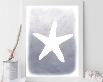 Grey Starfish, Starfish Print, Starfish Art, Starfish Printable, Beach Decor, Nautical Decor, Nautical Wedding, Nautical Nursery