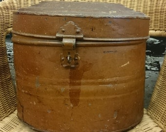 Victorian Brown Metal HAT BOX
