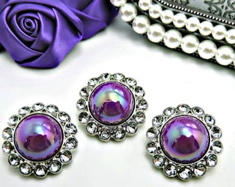 Shiny AB Iridescent Purple Pearl Button W/ Clear Surrounding Rhinestones Button Brooch 26mm 3185 60P 2R