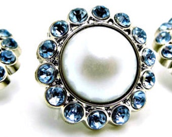 WHITE Pearl Rhinestone Acrylic Buttons W/ Light Blue Surrounding Rhinestones Brooch Bouquet Coat Buttons 26mm 3185 09P 11R