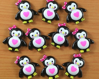 10pcs Valentine's Day Penguin Pink Heart Pink Bow Resin Cabochons Flat Back Scrap Booking Hair Bow Center Frame Photo Making Craft.
