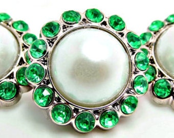 WHITE Pearl Rhinestone Acrylic Buttons W/ Bright Green Surrounding Rhinestones Brooch Bouquet Coat Buttons 23mm 3185 09P 10R
