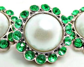 WHITE Pearl Rhinestone Acrylic Buttons W/ Bright Green Surrounding Rhinestones Brooch Bouquet Coat Buttons 26mm 3185 09P 10R